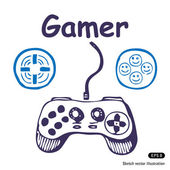 Gamepad and multiply icons Hand drawn vector illustration on white
