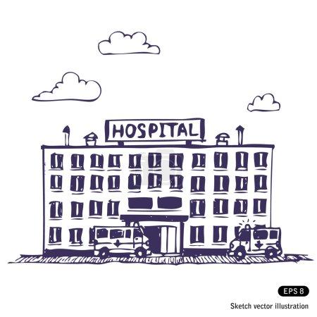 Illustration for Hospital building. Hand drawn vector illustration on white - Royalty Free Image