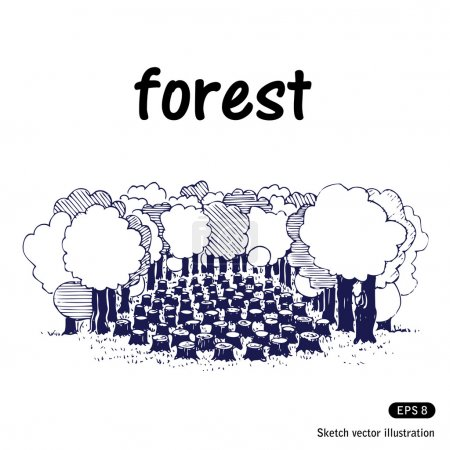 Illustration for Deforestation. Hand drawn vector isolated on white - Royalty Free Image