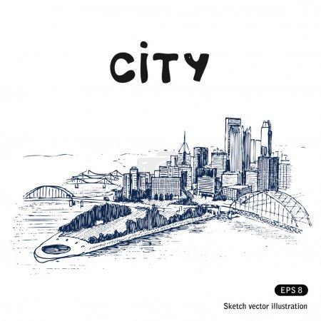 Photo pour Paysage urbain. Vecteur dessiné à la main isolé sur blanc - image libre de droit