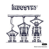 Factory is making robots Hand drawn vector isolated on white