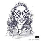 Girl with big round psychodelic glasses