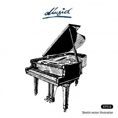 Illustration pour Piano à queue. vecteur dessiné main, isolé sur blanc - image libre de droit