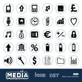 Internet and media icons set Hand drawn vector isolated on white