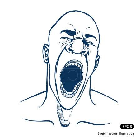 Shouting or yawning or tired man