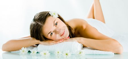 Photo for Portrait of cheerful woman resting and looking at camera - Royalty Free Image