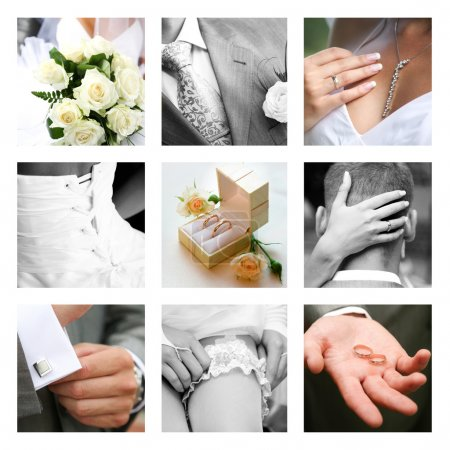 Photo for Creative collage composed of nine wedding moments - Royalty Free Image