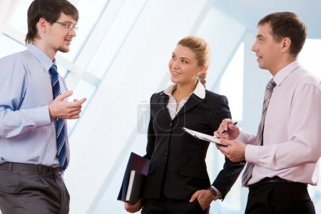 Photo for Portrait of successful business partners discussing new ideas at meeting - Royalty Free Image