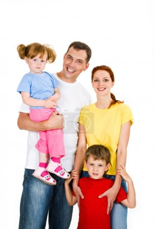 Photo for Portrait of happy family isolated on a white background - Royalty Free Image