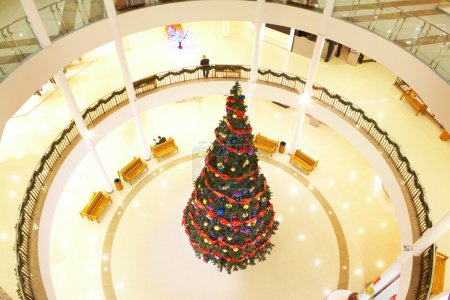 Image of decorated Christmas tree on the first floor of the mall