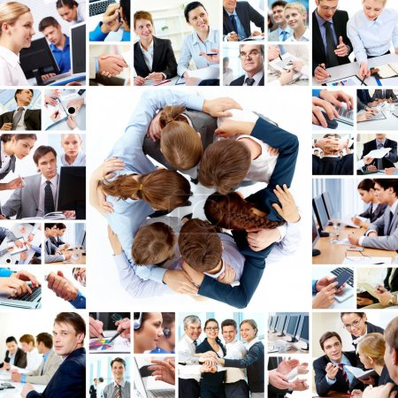 Photo for Collage of business teams working together, technology and partnership concepts - Royalty Free Image