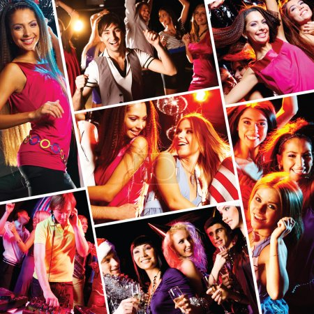 Photo for Collage of attractive young dancing at disco and having fun - Royalty Free Image