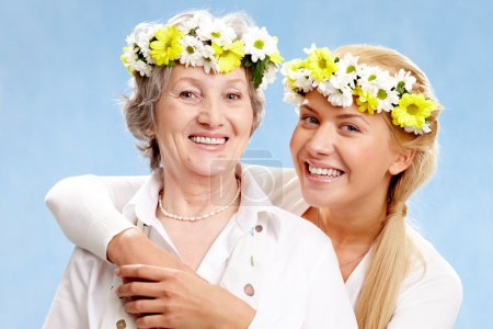 Photo for Portrait of two pretty women with different age - Royalty Free Image