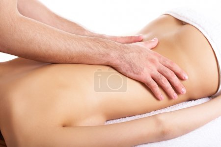 Photo for Image of female back being massaged by male hands - Royalty Free Image