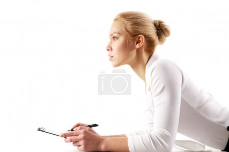 Photo for Portrait of pretty businesswoman thinking while planning work - Royalty Free Image