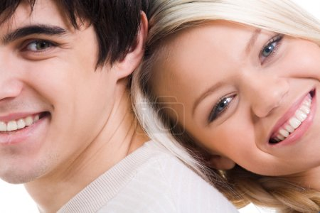 Photo for Close-up of happy couple looking at camera with smiles - Royalty Free Image