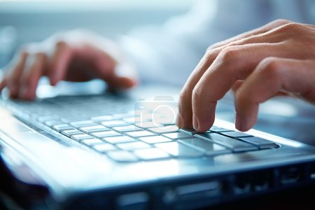 Photo for Close-up of typing male hands - Royalty Free Image