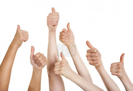 Photo for Line of group of human hands showing thumbs up - Royalty Free Image