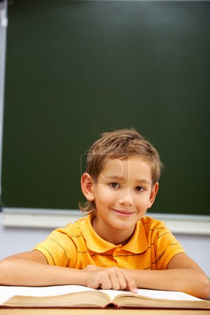 Photo for Portrait of happy schoolboy looking at camera during reading lesson - Royalty Free Image