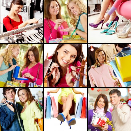 Photo for Collage of images with young shopping - Royalty Free Image
