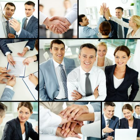 Photo for Collage of business group in office during working day - Royalty Free Image