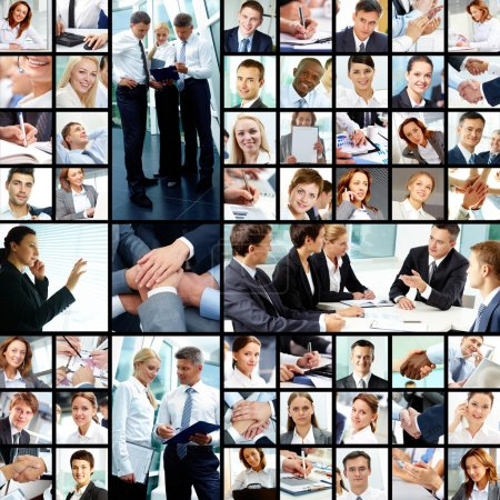 Photo for Collage of successful businesspeople at work - Royalty Free Image