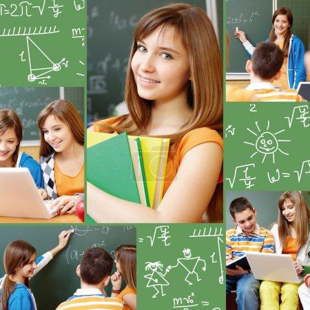 Foto de Collage de estudiantes trabajando en grupo en símbolos de lección y escuela - Imagen libre de derechos