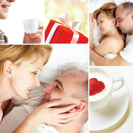 Photo for Collage of loving couple with love symbols - Royalty Free Image