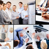 Collage of business interaction