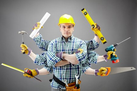 Photo for Portrait of serious craftsman with different tools in six hands - Royalty Free Image