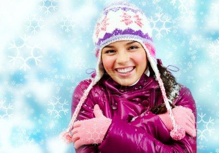 Smiling girl in winter
