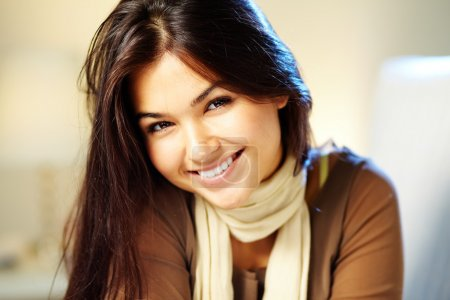 Photo for Image of young woman with dark hair smiling at camera - Royalty Free Image
