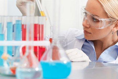 Photo pour Clinicien sérieux regardant la fiole avec du liquide en laboratoire - image libre de droit