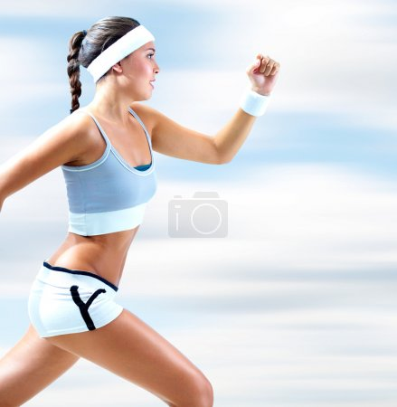 Photo for Portrait of a girl running outdoor in summer - Royalty Free Image