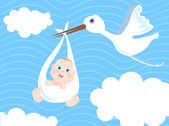 Baby boy birth Announcement vector illustration