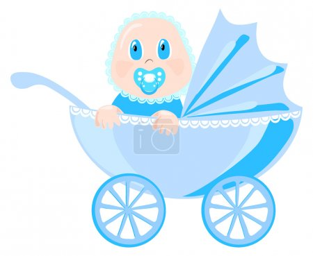 Baby in blue wear sits in pram, vector illustration