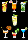 Collection of alcoholic cocktails on a black background