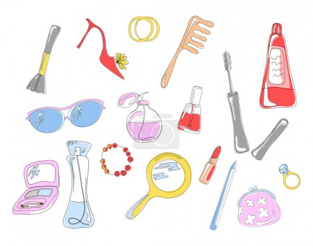 Photo pour Collection d'objets et accessoires cosmétiques, illustration vectorielle - image libre de droit