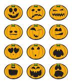 Collection of halloween pumpkin smiles vector illustration