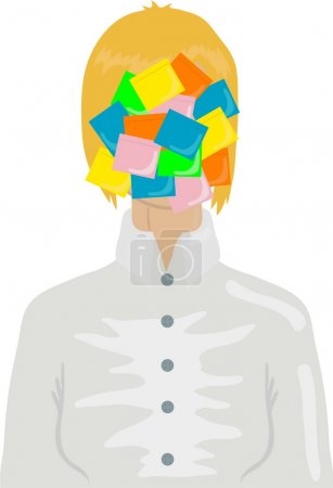 Businesswoman with color stickers
