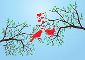 Vector illustration of birds kissing on the branch