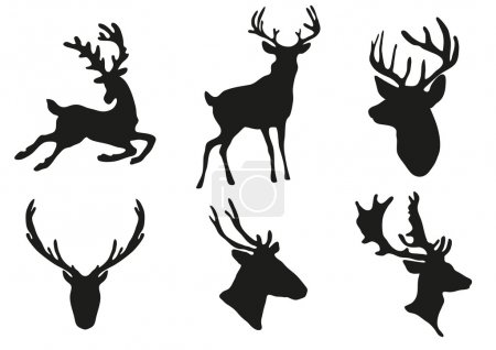Illustration for Vector illustration of collection of deers silhouette - Royalty Free Image