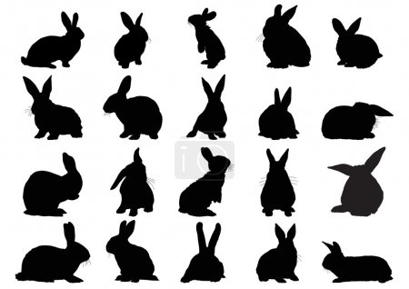 Illustration for Set of black silhouettes of rabbits isolated on white - Royalty Free Image