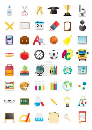 Illustration for Vector illustration of school objects, big collection - Royalty Free Image