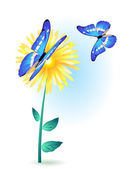 flower with blue butterflies
