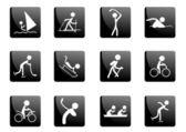 Black glossy sport icons