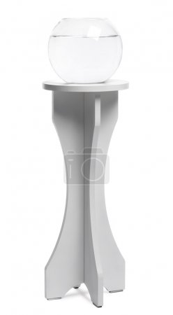 Empty Aquarium on a stand against white background