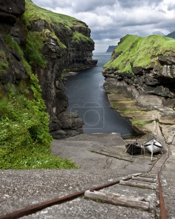 High angle view of small port in Faroe Islands