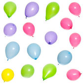 Sixteen multicolored balloons floating in front of a white background