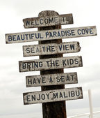 Sign on Malibu beach, Los Angeles, California, USA